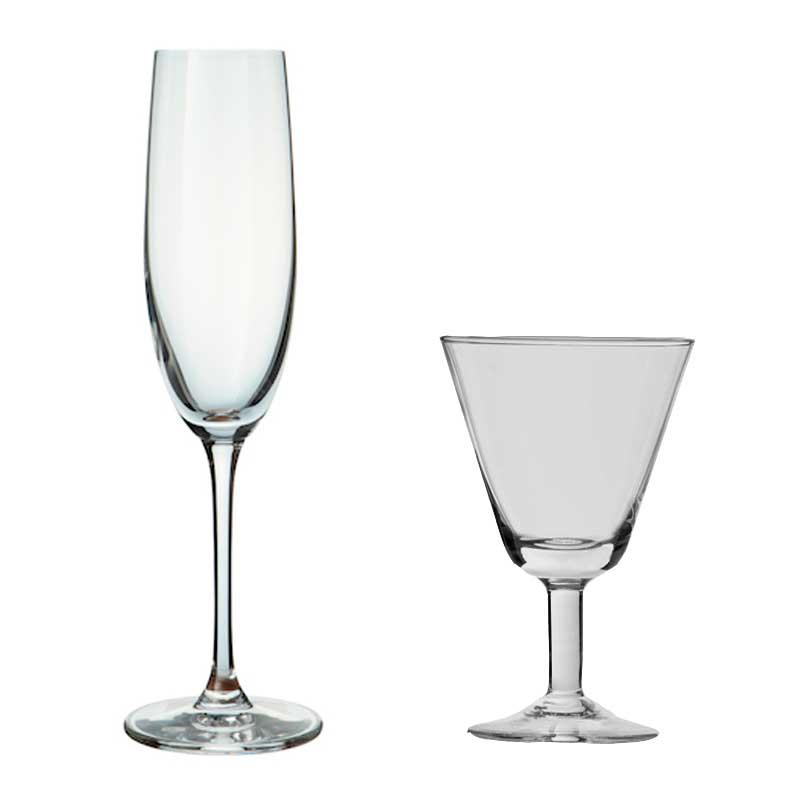 Copas para vinos espumosos y licores