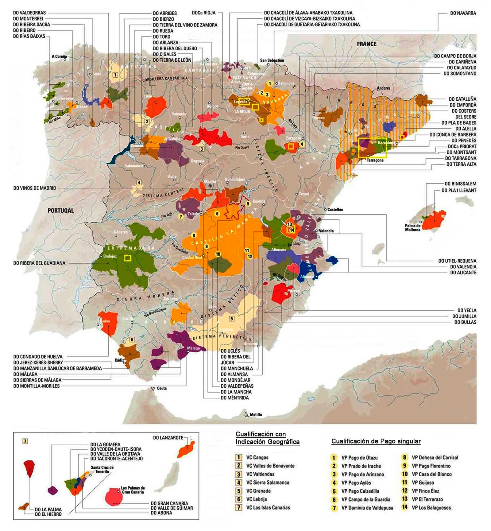 Mapa de las Denominaciones de Origen españolas