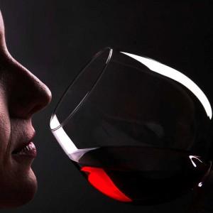fase olfativa con vino tinto